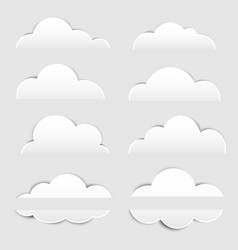 basic rgbwhite paper cloud with shadow on white ba vector image