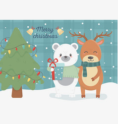 bear and deer with gift and tree celebration merry vector image