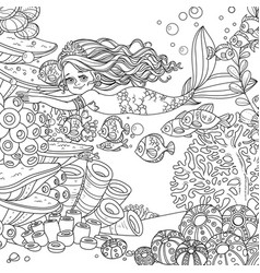 Beautiful little mermaid girl swim with fishes on vector