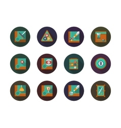 Billiard round flat color icons set vector image