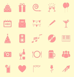 birthday color icons on yellow background vector image