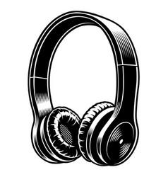 Black and white headphones vector