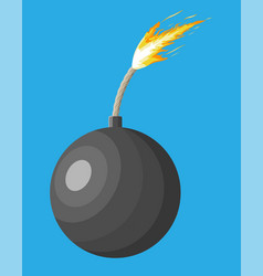 black ball bomb about to explode vector image