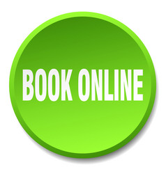 Book online green round flat isolated push button vector
