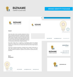 bulb with gear business letterhead envelope and vector image