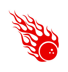 Burning red bowling ball with hot fire flame sign vector