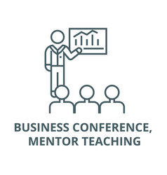 Business conference mentor teaching line icon vector