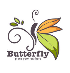 Butterfly insect on branch corporate identity vector