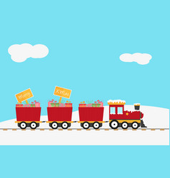 Christmas design with red train and wooden sign vector