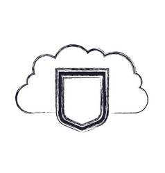 Cloud storage data protection shield icon in vector