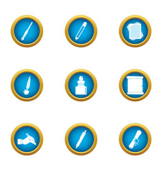copyist icons set flat style vector image