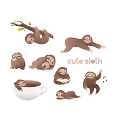 cute sloth set - funny vector image