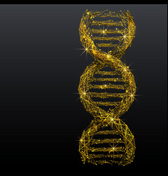 Dna link low poly wireframe gold metal vector