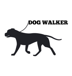 Dog walker logo design canine animal black icon vector