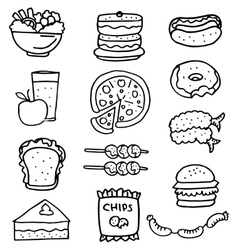 Doodle of fast food set vector image