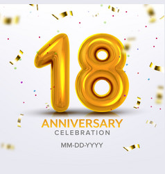 eighteen anniversary celebration number vector image