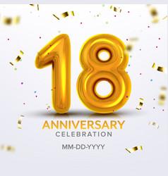 Eighteen anniversary celebration number vector