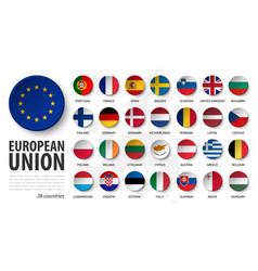 european union eu and membership flags 3d sink vector image