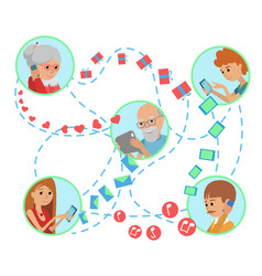 Family flat style people faces vector