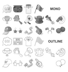 Fan and attributes monochrom icons in set vector