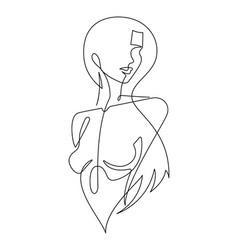 Female figure continuous line art 7 vector