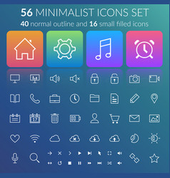 Flat user interface line icons set vector