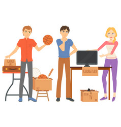 garage sale household and sport items vector image