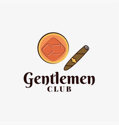 gentlemen club logo with whiskey glass and cigar vector image