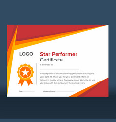 Geometric red and gold star performer certificate vector