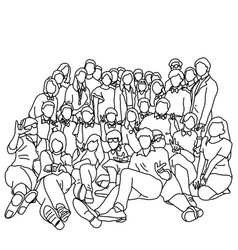 group people or workers taking photo together vector image
