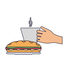 Hand coffee cup and sandwich vector
