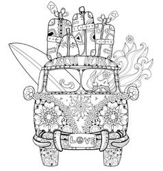 Hand drawn doodle outline retro bus travel vector
