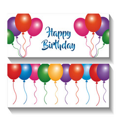 Happy birthday banners invitation multicolor vector