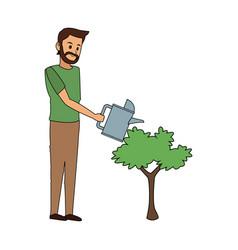 Happy person with plant icon image vector