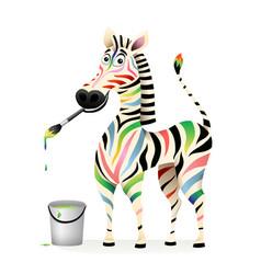 Happy positive colorful zebra psychology concept vector