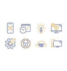 Idea calendar time and cogwheel icons set vector
