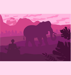 Indian landscape with elephant and yog vector
