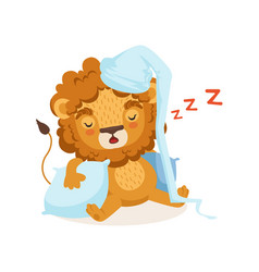 lion cartoon character wearing nightcap and vector image