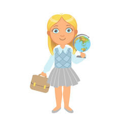 Little schoolgirl standing and holding globe and vector