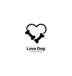 Love dog logo outline monoline vector