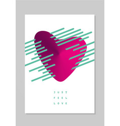 love poster with heart card for valentines day vector image