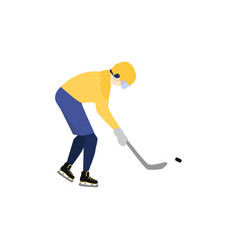 man in helmet and uniform playing hockey vector image