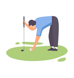 Man playing golf male golfer athlete training vector