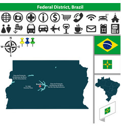 Map federal district brazil vector