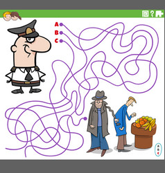 Maze game with cartoon policeman character vector