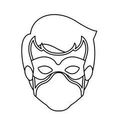 Monochrome contour of faceless guy superhero with vector