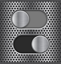 on and off round slider buttons metal switch vector image