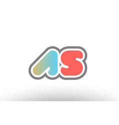 orange pastel blue alphabet letter as a s logo vector image