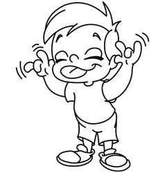 outlined kid making a face vector image