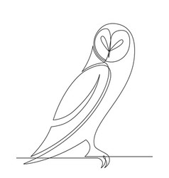 owl continuous line graphic cartoon vector image